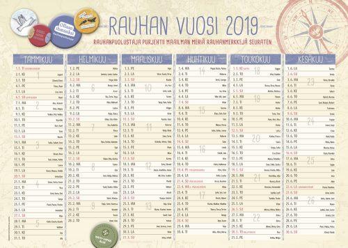 Rauhan vuosi 2019 -seinäkalenteri