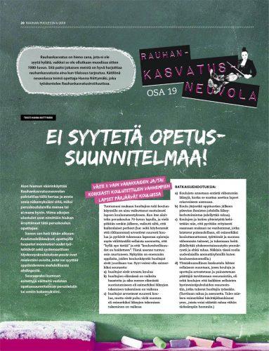 Rauhankasvatusneuvola 19: Ei syytetä opetussuunnitelmaa!